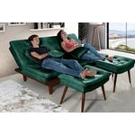 Sofa Cama Reclinavel Caribe + Duas Banquetas Rubi em Suede Verde