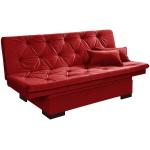 Sofá Cama Com Baú Reclinável Liso - Vermelho em Courino