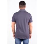 Camisa Polo Masculina Com Bolso Cinza Piquet Premium