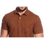 Camisa Polo Plus Size Zegen Caramelo Sustentável Com Bolso