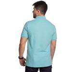 Camisa Polo Masculina Azul Claro Detalhe Xadrez Piquet Premium