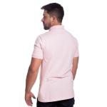 Camisa Polo Masculina Rosa Bebê Detalhe Xadrez Piquet Premium