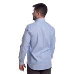 Camisa Masculina Manga Longa Social Com Bolso Azul Claro