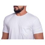 Camiseta Masculina Com Bolso Zegen Branca