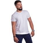Camiseta Masculina Gola V Confort Branca
