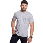 Camiseta Masculina Básica Confort Cinza Detalhe Preto