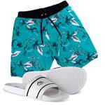 Kit Bermuda Floral Elastic e Chinelo Adaption Azul/branco