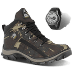 Coturno Masculino Adventure Adaption Tiger Verde + Relogio