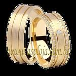 Aliança fosca intense de casamento ou noivado cravejada de diamante em ouro amarelo 18K-750 largura 7,6 mm-ASP-AL-102