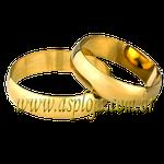 Par de Alianças de casamento ou noivado tradicional reta ouro amarelo 18K 750 5,00mm-ASP-AL-84