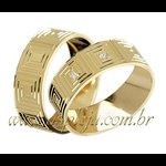 Par de alianças para Noivado ou Casamento linha grega em ouro 18 K-750 6,00mm-ASP-AL42