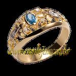Anel de formatura ouro amarelo 18K 750 com pedras laterais em diamantes-ASP-AF-1132