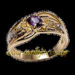 AF-1139-Anel de Formatura em Ouro 18K-750 Pedras Laterais Diamantes e Pedra Central Oval