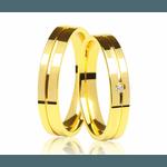 Alianças de casamento e noivado em Ouro 18k 750 Frisada com diamante 4.00 MM