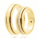 Par de alianças Eternn com Diamante Ouro 18K - Linha Eterna