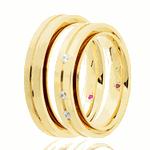 Par de alianças Eternn com Diamante Ouro 18K - Linha Gênesis