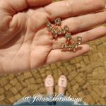 Brinco Ear Jacket Semijoia Banho de Ouro 18K Cristal Água Marinha