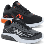 Kit 2 Pares Tênis Masculino Adaption Air Prospect Preto Branco/Preto Laranja