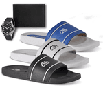 Kit 3 Chinelos Masculino Slide Adaption Preto/ Branco/ Azul + 2 Brindes