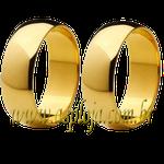 Par de Alianças de casamento ou noivado tradicional reta ouro amarelo 18K 750 6,00mm-ASP-AL-86