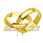 Par de Alianças de casamento ou noivado tradicional reta ouro amarelo 18K 750 4,70mm-ASP-AL-81