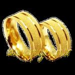 Aliança ouro amarelo 18K 750 anatômica para casamento ou noivado moderna fosca com 2 frisos lisos e polidos-ASP-AL-65