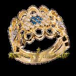 Anel de formatura ouro amarelo 18K 750 com pedras laterais em diamantes-ASP-AF-1130