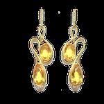 Brinco curvo citrino em ouro amarelo 18K 750 cravado com 16 diamantes 1.00 ponto-ASP-BR03