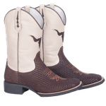 Bota Texana Masculina em Couro Legítimo Naja Bico Quadrado