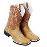 Bota Texana Masculina Couro Caramelo Bordada Bico Quadrado