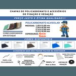 Kit 3 Chapas de Policarbonato Alveolar 2,10x6,00 6 Milímetros + Acessórios para Instalação