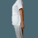 Conjunto Cirúrgico Feminino Plus Size em Microfibra Manga Curta Branco