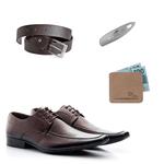 KIT 01 Par de Sapatos Café + Cinto + Porta Cédulas + Calçadeira