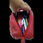 Estojo escolar em couro original vermelho