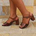 Sandália Em Couro Alta Laranja BP0083 J.Gean