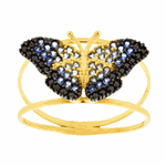 Anel de Borboleta Ouro 18K Pedras de Zircônia Azul Médio