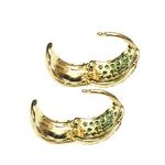 Brinco Argola Bombê Semijoia Banho de Ouro 18K Cravejado com Zircônias Esmeralda Detalhe em Ródio Negro