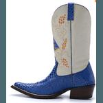 Bota Country Texana Nossa Senhora Aparecida Anaconda Azul / Branco