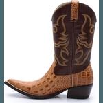 Bota Country Bico Fino Top Franca Shoes Jacare Nozes / Café