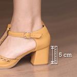 Sandália Salto Grosso com Laser Mostarda- 177-11