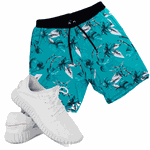 Kit Bermuda Floral Elastic e Tênis Easy Azul/branco