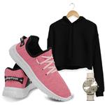 Kit Cropped Moletom e Easy V2 Feminino Pink/ Preto + Relogio