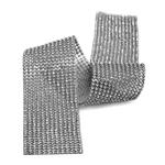 Tira De Strass Níquel e Pedra Cristal - 45x5cm