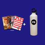 Kit 4 Revistas Zupi + Squeeze de Alumínio PS