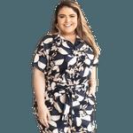Camisa Manga Curta Estampa Oriental - Plus Size