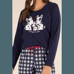 Pijamas Longo Feminino Pets Xadrez
