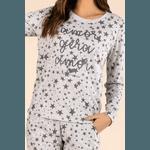 Pijama Longo Feminino Mescla Estrela
