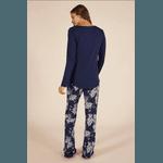 Pijama Feminino Azul Marinho Calça Floriada