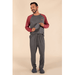 Pijama Longo Masculino Chumbo Bordo