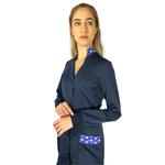 Jaleco Feminino - Azul Marinho com estampa